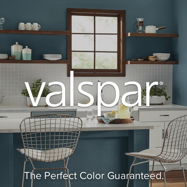 Valspar with The Perfect Color Guaranteed subheading with blue painted kitchen in background