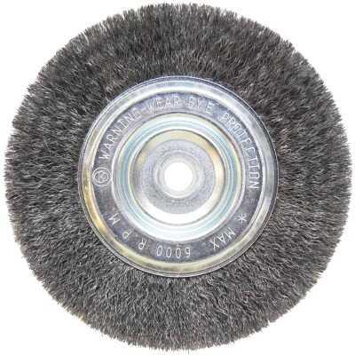 Weiler Vortec 6 In. Crimped, Fine 5/8 Bench Grinder Wire Wheel