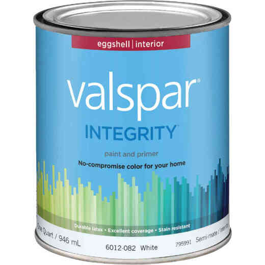 Valspar Integrity Latex Paint And Primer Eggshell Interior Wall Paint, White, 1 Qt.