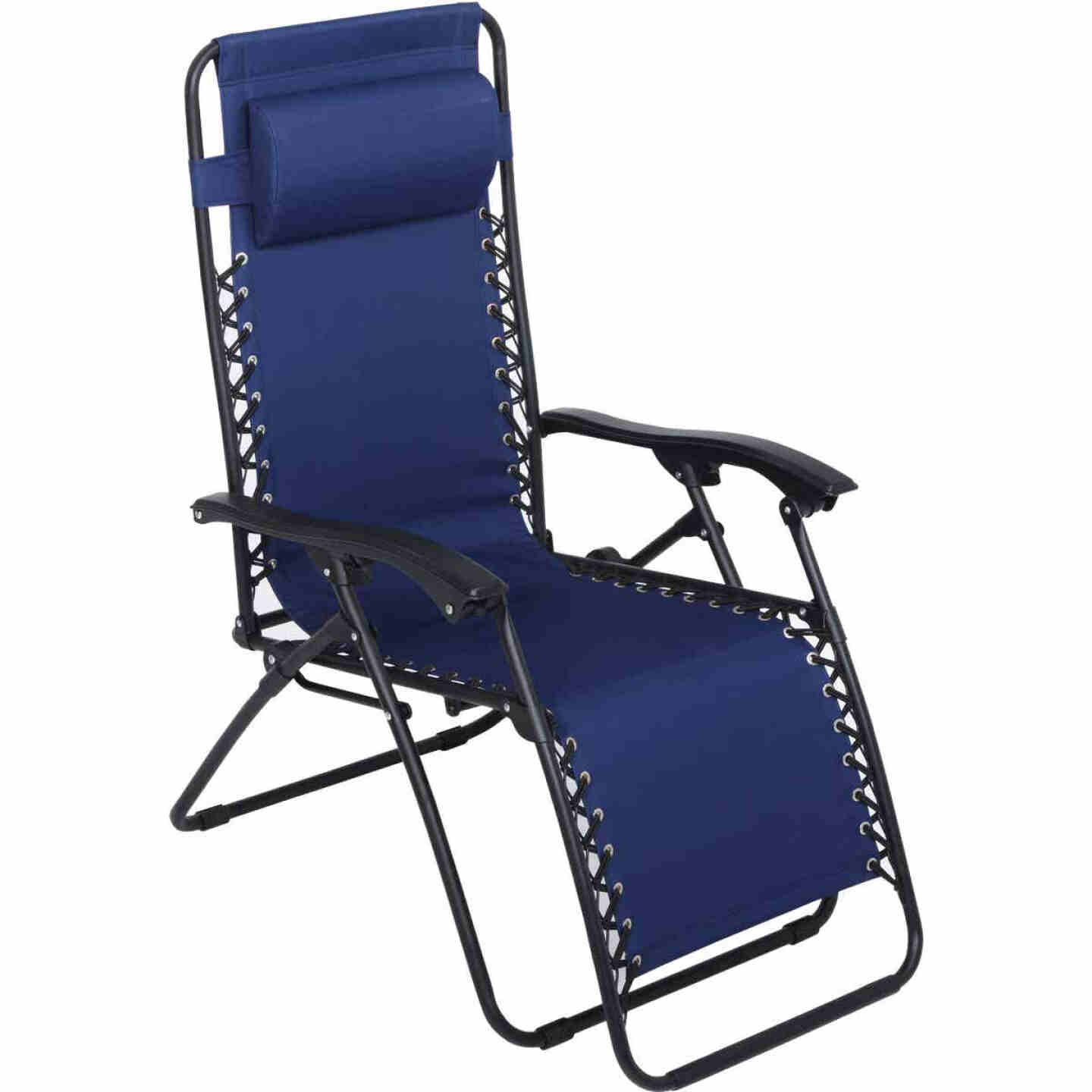 Outdoor Expressions Zero Gravity Relaxer Blue Convertible Lounge Chair Image 5